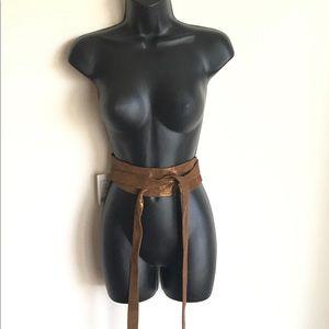 Anthropologie Accessories - Anthropologie Bronze ADA Wrap 7 Ways Leather Belt